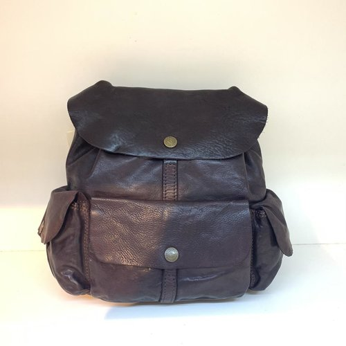 Campomaggi Genuine leather. Small Backpack. Aubergine.