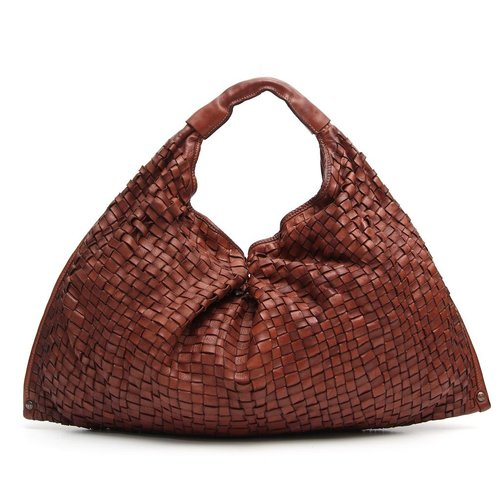 Campomaggi 100% Genuine leather. Big Weave hobo bag. Cognac.