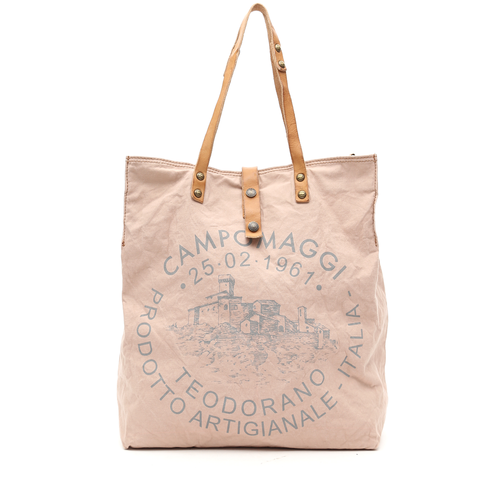 Campomaggi Fabric and leather shopper. (C1389 TEVL). Light pink + Natural + Grey print