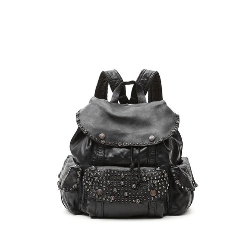 Campomaggi Genuine leather. Small Backpack. Studs & Srass Diamante. Black.
