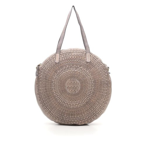 Campomaggi Genuine Leather. Shopping bag. Medium Round. Optical woven. Pearl Grey.
