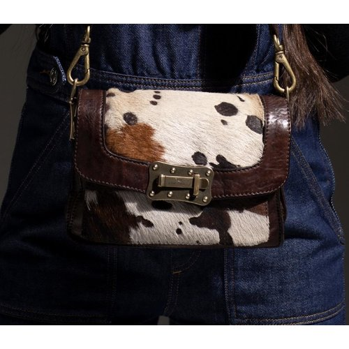 Campomaggi Cross body bag. Medium. Pony & Cow leather. Moro.