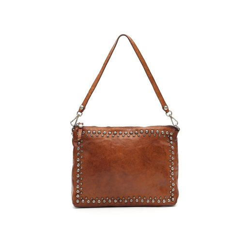 Campomaggi 100% genuine leather. Pochette. w profile studs and strass.Cognac