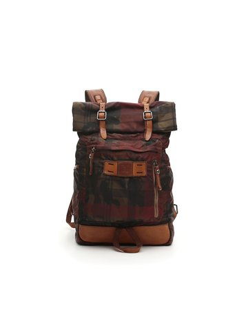 Campomaggi Backpack. Leather and Fabric. Camoflage + Tartan. Red Tartan Cognac Stained.