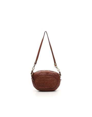 Campomaggi Crossbody bag. Small Oval. Honeycomb woven. Cognac