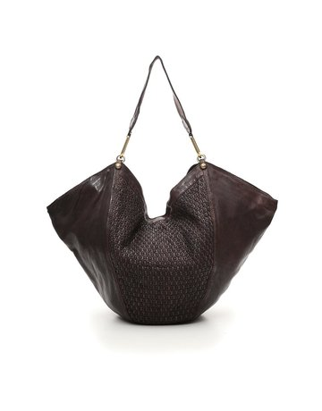 Campomaggi Anna L Shoulder bag. Large. Honeycomb Woven Leather. Grigio.