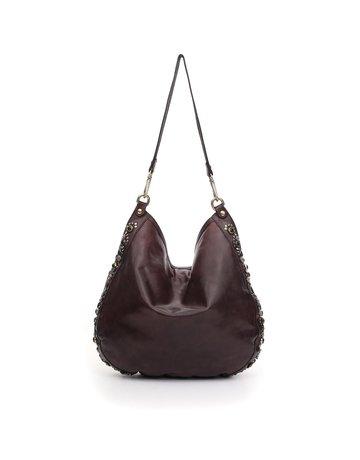 Campomaggi Shoulder bag. Genuine leather + Bella Di Notte Studs. Aubergine.