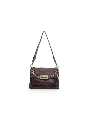 Campomaggi Agnes S Crossbody bag. Small. Genuine leather + Bella Di Notte Studs. Aubergine.