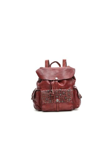 Campomaggi Genuine leather. Small Backpack. Studs & Srass Diamante. Wine.