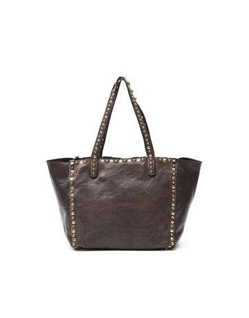 Campomaggi Genuine Leather. Small shopper. Studs Zaffiro. Moro.