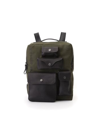 "Campomaggi Backpack. Large Canvas ""Willys"" + Leather. Military + Black + Black Print."