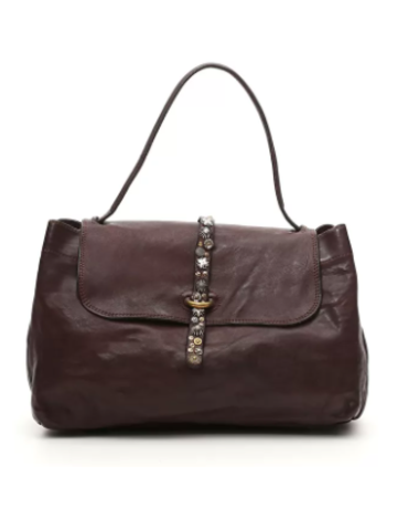 Campomaggi Handbag. Large. Leather + Strap w Studs. Moro.