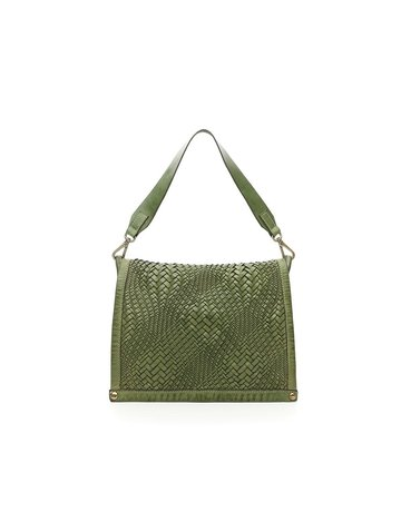 Campomaggi Genuine Leather. Medium crossbody bag. Bleached. Optical woven.. Sage Green.