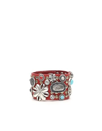 Campomaggi Leather Bracelet. Wide with multi studs. Red.