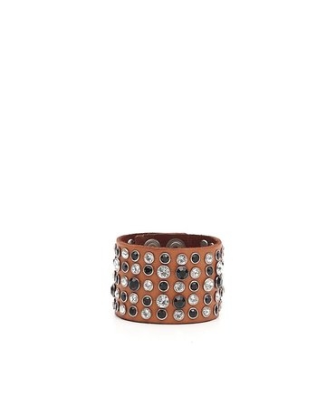 Campomaggi Leather Bracelet. Wide with crystals and studs. Cognac.