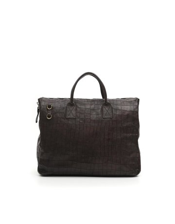 Campomaggi Briefcase. Genuine Leather + Crocodile Print. Black.