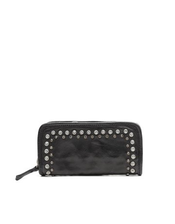 Campomaggi 100% genuine leather. Wallet. Studs + Strass Laser Serenoa. Black.