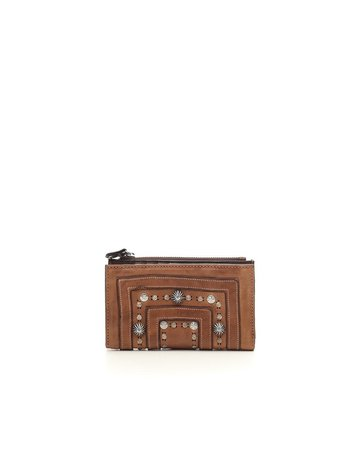 Campomaggi Wallet. Flat. Genuine leather. Laser Drop + Studs. Cognac.