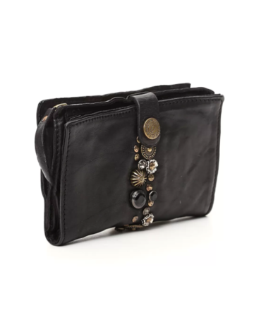 Campomaggi Wallet. Genuine Leather w Bella Di Notte Studs. Black.