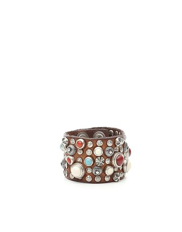 Campomaggi Bracelet. Leather. Wide. Multi-studs. Cognac