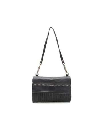Campomaggi Genuine Leather. Pochette. Thin woven + Studs. Black.