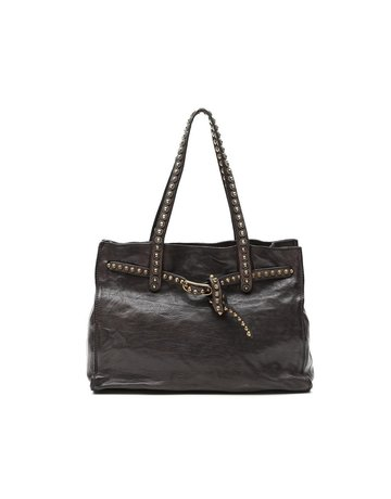 Campomaggi 100% genuine leather. Shopper. Studs. Grigio.
