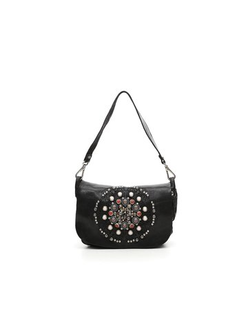 Campomaggi Pochette. Genuine leather. Laser + Studs SIENA. Black.