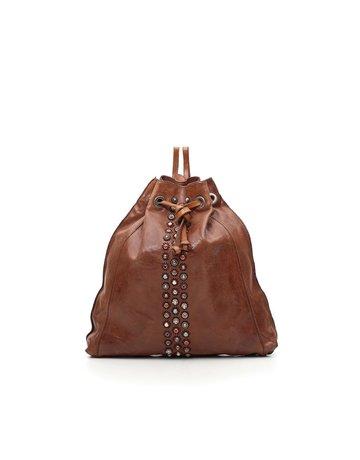 "Campomaggi Genuine leather. Backpack w Studs ""Ravena"". Cognac."