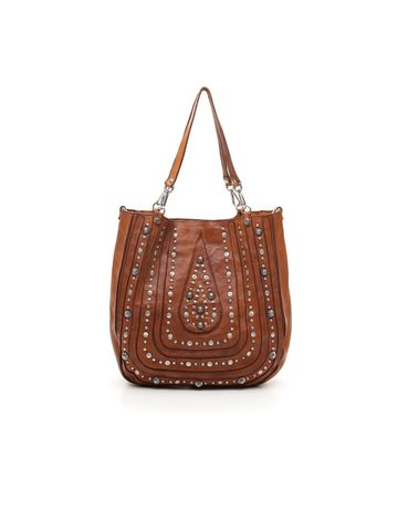 Campomaggi Shopping bag. Leather. Laser drop + Studs. Cognac.