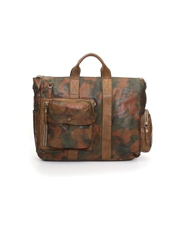 Campomaggi Briefcase. Genuine Leather. Camouflage. Military Green.