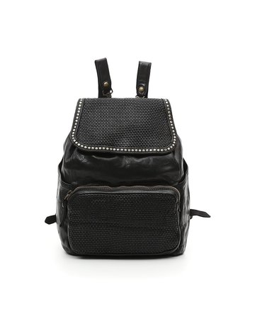 Campomaggi Genuine Leather. Backpack. Thin woven + Studs. Black.