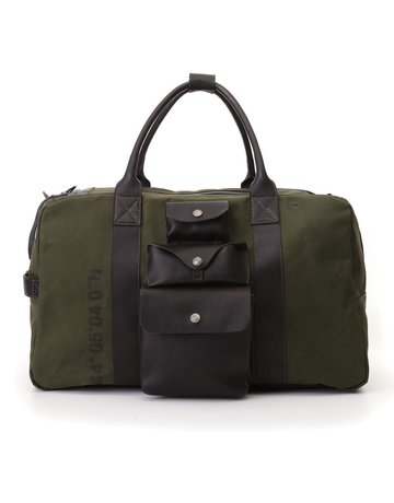 "Campomaggi Weekend Bag. Canvas ""Willys"" + Leather. Military + Black + Black Print."