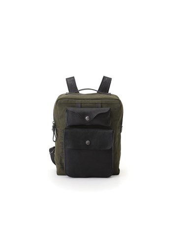 """Campomaggi Backpack. Small Canvas """"Willys"""" + Leather. Military + Black + Black Print."""