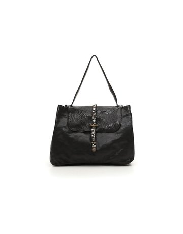 Campomaggi Handbag. Large. Leather + Strap w Studs. Black.