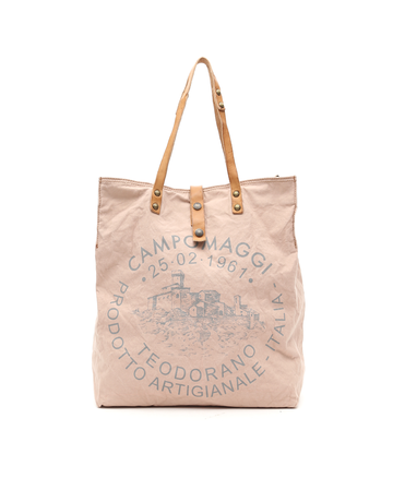 Campomaggi Genuine leather and canvas. Shopper. (C1262 TEVL). Light Pink + Natural + Grey Print