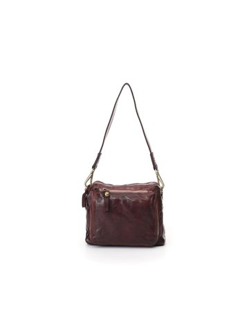 Campomaggi Cross body bag. Small. Genuine Leather + Studs Profile. Wine.