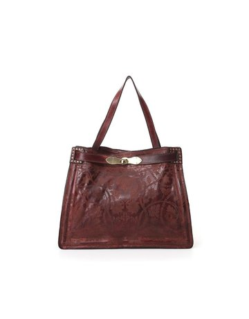 Campomaggi Shoulder bag. Medium. Genuine leather. Floral Raster. Wine.