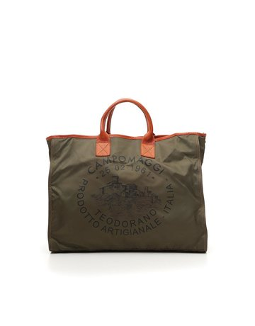 Campomaggi Shopping bag. Large. Nylon + Leather. Military + Baked + Black Print.