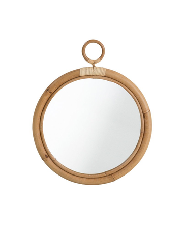 Originals Ella Mirror. Diameter 45cm with skin-on natural rattan.
