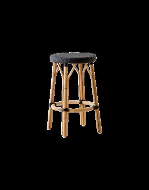 Affaire Simone Bar Stool. H77.5 cm. All black weave.
