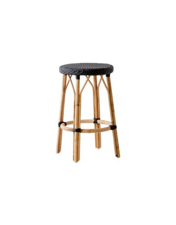 Affaire Simone Bar Stool. H77.5 cm. All black weave.