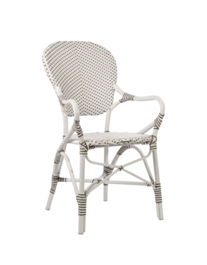 Exterior Isabell Arm Chair, Exterior. Aluminium frame with ArtFibre. White w Cappucino Dots