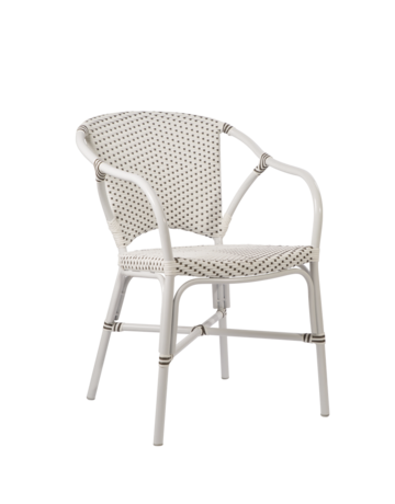 Exterior Valerie Chair, Exterior. Aluminium frame with ArtFibre weave White w Cappucino Dots. Frame White.