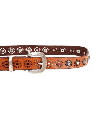 "Campomaggi Belt. Leather w studs ""Ravenna"". Cognac. H3. Size 80"