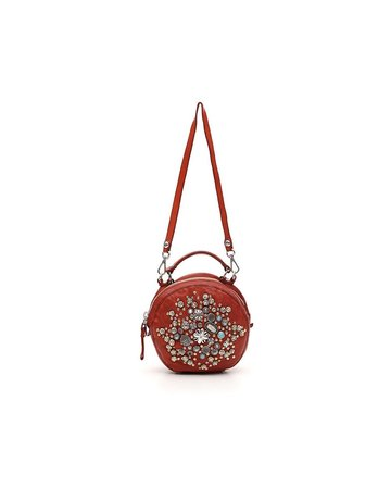 Campomaggi Bowling Bag. Genuine leather + Multi studs. Red.