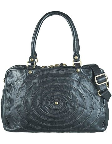 Campomaggi Shopping bag w spiral. Fabric & leather. Black.