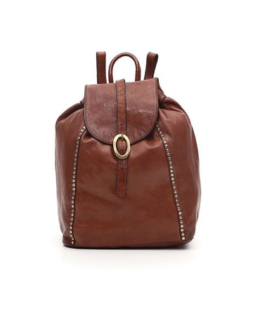 Campomaggi Backpack. Genuine leather + oval buckle strap + studs. Cognac.