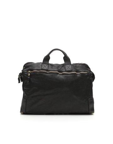 Campomaggi Carrier Bag. Genuine Leather. Black.