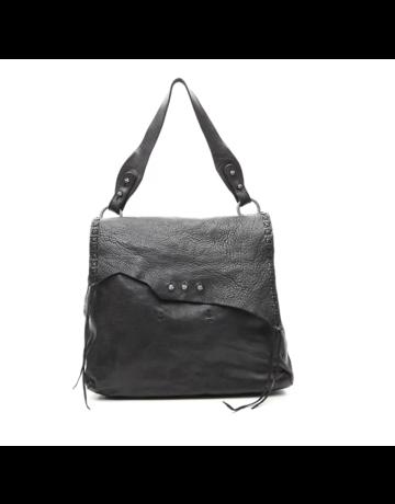 Campomaggi Shoulder bag. Medium. Genuine leather w seams. Black.