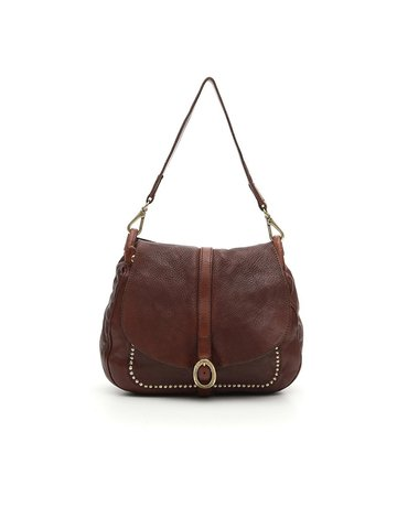 Campomaggi Shoulder bag. Medium. Genuine leather + oval buckle strap + studs. Cognac.